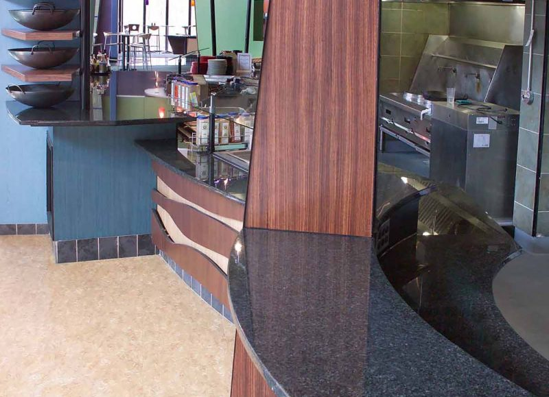 black granite counter tops at dining hall