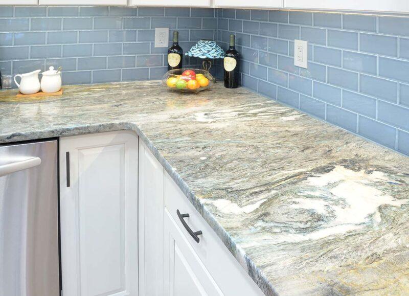 kitchen countertop with tile backsplash