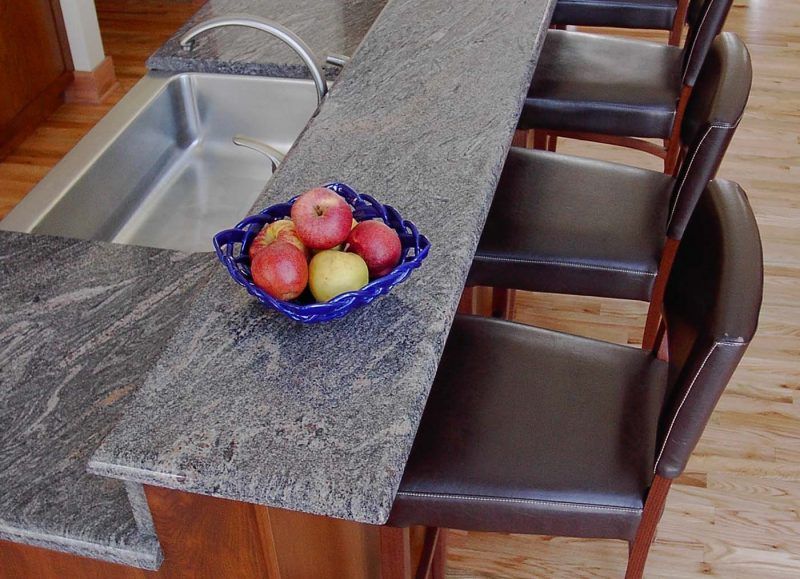 grey countertop on two tier island
