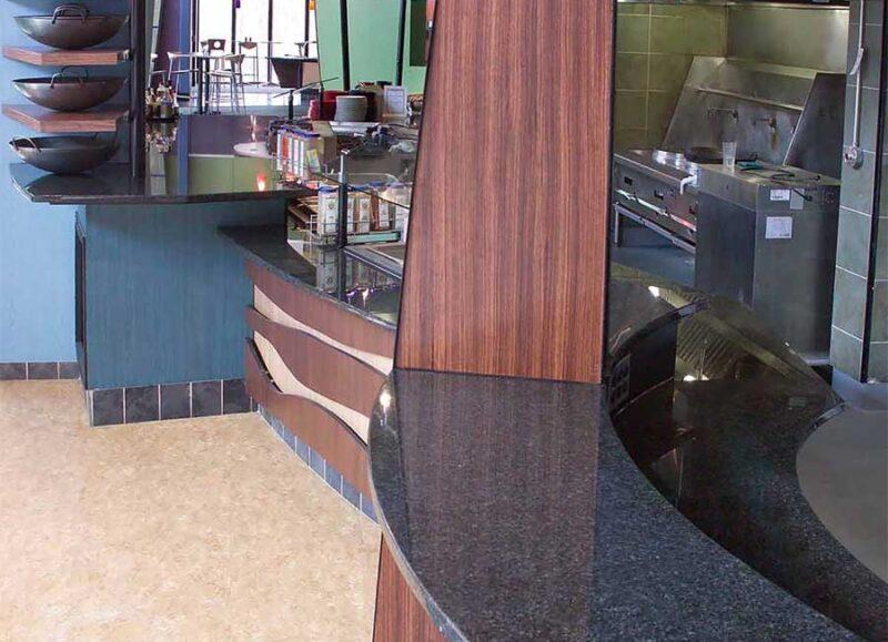 black granite counter tops at dining hall