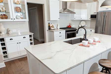 white modern kitchen with white counters
